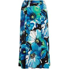 CC Petite Large Flower Print Skirt ($115) ❤ liked on Polyvore featuring skirts, navy, petite, women, floral print skirt, blue floral skirt, navy skirt, calf length skirts and floral skirt