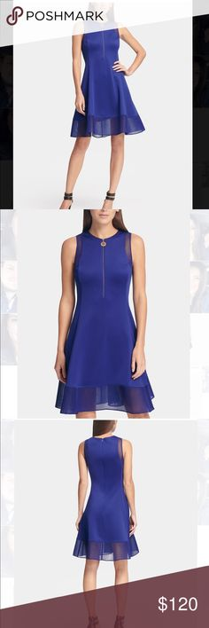 40698d9d5a1 💖👍DKNY NWT Blue Dress💗👗 Fit and Flare Dress with Mesh Trim
