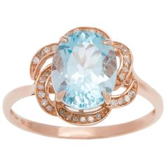 Viducci 10k Gold Blue Topaz and 1/6ct TDW Diamond Ring (G-H, I1-I2) (Rose Gold - size 8), Women's (floral)