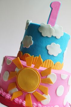 Absolutly live this cake! Cant wait for Alyssas second birthday! you are my sunshine cake - And Everything Sweet Sunshine Birthday Parties, First Birthday Parties, First Birthdays, Birthday Ideas, Kylie Birthday, Girl First Birthday, Birthday Cake, Cloud Cake, Sun Cake