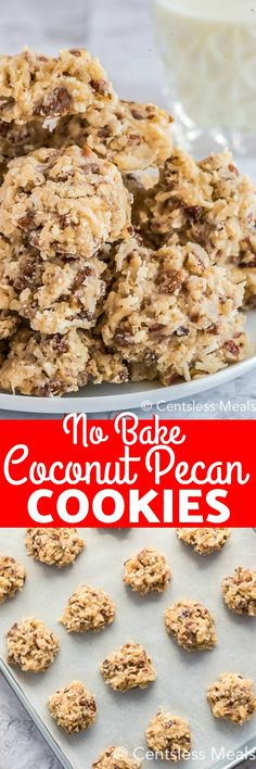 Coconut pecan cookies are a chewy homemade sweet treat that is perfect for summer. Made with shredded coconut and chopped pecans these easy cookies are made even better by being no-bake! Coconut Pecan Cookie Recipe, Pecan Cookie Recipes, Coconut Recipes, Cookie Desserts, Candy Recipes, Baking Recipes, Dessert Recipes, Coconut Cookies, Desserts Diy