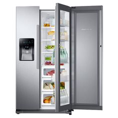 """36""""-Wide, 24.7 cu. ft. Capacity Side-by-Side Food ShowCase Refrigerator with Metal Cooling (Stainless Steel)"""
