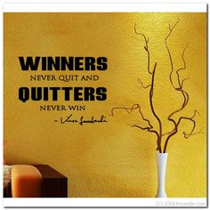 WINNERS NEVER QUIT  Vinyl Wall Lettering Words Decor by itwaddle, $11.95