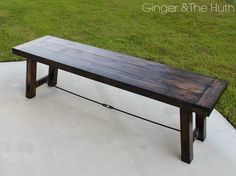 DIY Tutorial for Pottery Barn Knockoff Farmhouse Bench- Ginger and The Huth