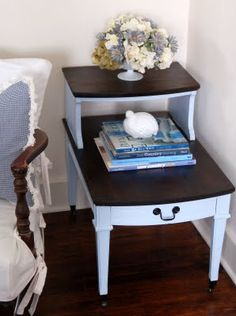 I just inherited 2 end tabled like this... love the contrast but maybe a bright paint instead of a stain...