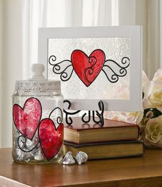 Shimmer Valentine Glass Art created with Gallery Glass