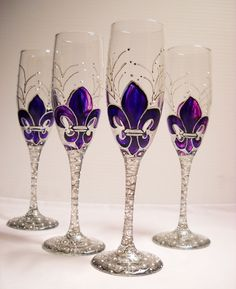 Hand Painted Champagne Flute Glassware Set of by skyspirit8studios, $55.00