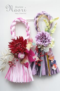 Japanese New Year wreath 2015 お正月 Chinese New Year Decorations, New Years Decorations, Flower Decorations, Diy Arts And Crafts, Crafts To Make, Japanese Floral Design, Japanese New Year, Crepe Paper Flowers, How To Preserve Flowers
