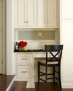 Kitchen desk area - move fridge - put desk nook in its place