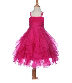 Elegant Stunning Fuchsia Organza Flower hot pink girl dress princess pageant wedding bridal bridesmaid toddler size 2 4 6 8 9 10 12 14 #151