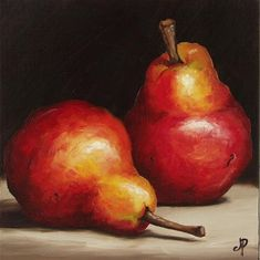 """Pair of Red Pears"" - Original Fine Art for Sale - © Jane Palmer"
