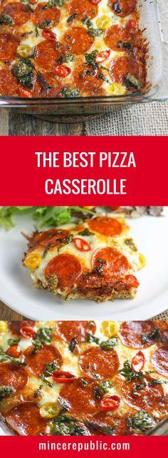 Pizza Casserole recipe   Your favorite pizza toppings in casserole form!   #keto #lowcarb   mincerepublic.com