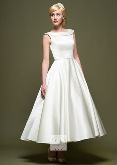 Buy Buy Cheap YYDRESS 2018 Best Selling Chic Simple Scoop Sleeveless A Line Tea Length Flat Satin Wedding Dress Online Cheap Prices