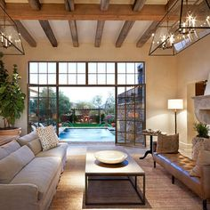 Plate Glass Windows And Wood Beams Design Ideas, Pictures, Remodel, and Decor - page 20