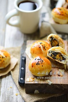 Flaky Asian Buns with Red Bean Paste and Salted Duck Egg Yolks — Yankitchen Asian Bread Recipe, Blueberry Yogurt Popsicles, Asian Buns, Chinese Cake, Mooncake Recipe, Red Bean Paste, Cake Packaging, Duck Eggs, Cake Photography