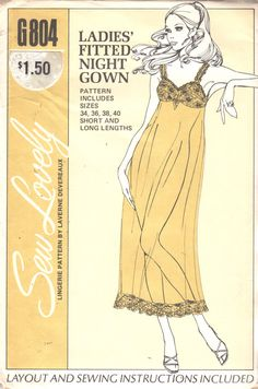 0d20bd5d77 Sew Lovely G804 Misses Fitted Nightgown Pattern Negligee Waltz or Baby Doll  Womens Vintage Sewing Bust 34 36 38 40 OR XXL Bust 42 - 48 UNCUT