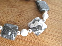 Black and White Tree Agate and Howlite Silver Spiral Bracelet - pinned by pin4etsy.com