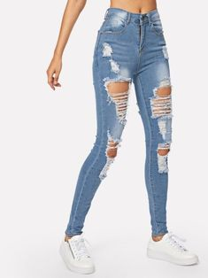 Outfit Jeans, Lässigen Jeans, Ripped Knee Jeans, Cute Jeans, Casual Jeans, Distressed Skinny Jeans, Casual Outfits, Hollister Jeans, Jeans Dress
