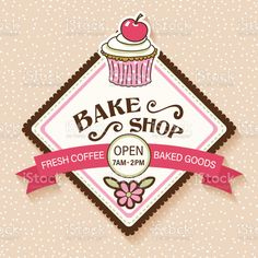 Cute Bakery, Cafe Sign, Ribbon Banner, Sticker Shop, Free Vector Art, Photo Illustration, Royalty Free Images, Cupcake, Stickers