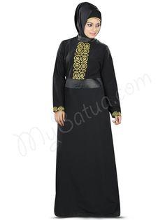 Beautiful Curl Embroidered Black Party Wear Wahida #Abaya #MyBatua.com Style No : AY-370 Price : $63.00 Available Sizes XS to 7XL