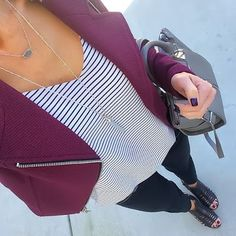 Express Burgundy Moto Jacket + striped cami + black skinnies + black caged sandals [Instagram: @ontheDailyX]