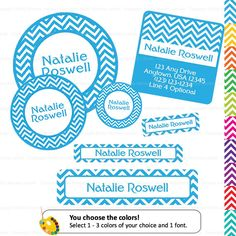 School Label Pack -   Chevron (Pick Your Colors) - Waterproof  138 Labels