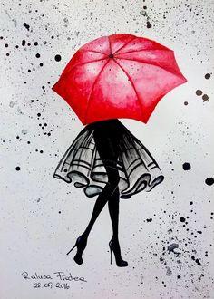 Umbrella Painting, Umbrella Art, Drawing Umbrella, Small Canvas Art, Diy Canvas Art, Art Drawings Sketches Simple, Cute Drawings, Art Paintings, Watercolor Art