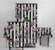 1960s Retro Wardrobe House of Hackney amazing paper like Newcastle Utd strip in Home, Furniture & DIY, Furniture, Wardrobes | eBay