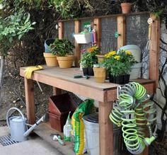 DIY rangement pour jardin pour outils et pots de fleurs en bois
