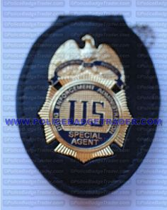 DEA Special Agent badge with recess belt/neck holder. Available from www.policebadgetrader.com