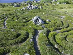 One of the neolithic stone labyrinths on Bolshoi Zayatsky Island, one of the Solovetsky Islands in Arkhangelsk Oblast, Russia