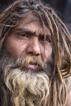 """So moved by being in Haridwar and near the holy Ganga river, overcome with emotional contact to his God """"Ram"""", he wept . Living In Jamaica, Kumbh Mela, Good Prayers, Indian Colours, Tears Of Joy, Interesting Faces, Incredible India, People Around The World, Dreads"""