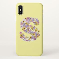 #Monogram letter S iPhone X Case - #floral #gifts #flower #flowers