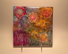 Alcohol Ink Art Wildflowers, Watercolor of Fall Flowers, Mixed Media of…
