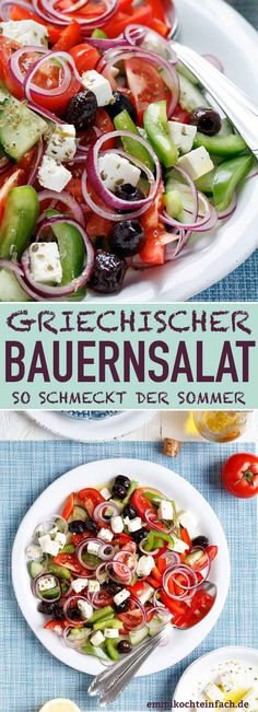Greek farmer& salad - so quick and easy - emmikoch .-Griechischer Bauernsalat – so schnell und einfach – emmikochteinfach Greek farmer salad Easy Salad Recipes, Easy Salads, Dinner Recipes, Healthy Recipes, Barbecue Recipes, Grilling Recipes, Bbq, Greek Salad, Healthy Eating Tips