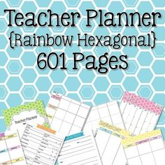 Teacher Planner - Rainbow Hexagonal Theme {redownload the updates for free each year} | The Learning Effect