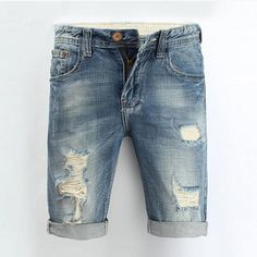 Men Jeans 2016 Summer Casual Men Jeans Shorts Hole High Quality Fashion Knee Length Ripped Jean For Men Brand Pants Shorts