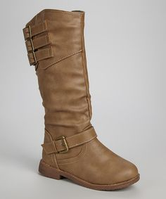 Look at this Shoes of Soul Taupe Buckle Slouch Boot on #zulily today!