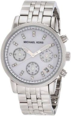 Michael Kors Watches Silver Chronograph with Stones (Silver) YES PERFECT