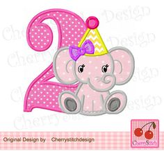 Baby Elephant with Birthday Number 2-for girls, Elephant, Animal embroidery design -4x4 5x7 6x10-Machine Embroidery Applique Design by CherryStitchDesign on Etsy