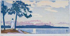 """Path of Gold"", 1919, woodcut by Walter J. Phillips (1884-1963). Tags: Linocut, Cut, Print, Linoleum, Lino, Carving, Block, Woodcut, Helen Elstone,  Water, Lake, River, Sunset, Trees, Woman, Canada."