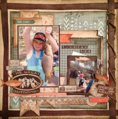 Kaisercraft Outdoor Trail. Kylie Hughes. MakeApage Scrapbooking Victoria Australia Scrapbooking Layouts, Scrapbook Pages, Fish Camp, Victoria Australia, Greatest Adventure, The Great Outdoors, Kylie, Project Ideas, Projects