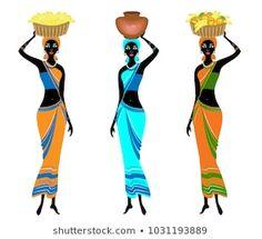 5 Piece Canvas Art, African Art Paintings, African Masks, Pencil Art Drawings, Tribal Art, African Women, Line Drawing, Female Art, Pop Art