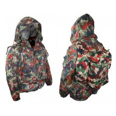 SWISS ALPENFLAGE HEAVYWEIGHT PARKA W/PACK Swiss Alpenflage Heavyweight Parka with pack. One of best selling camouflage patterns. Used but great condition. Parka is made of a heavy cotton blend, zipper and snaps for the front, 4 big pockets, waterproof elbows, drawstring hood, elastic cuffs and a handy dandy small pack to match it all.
