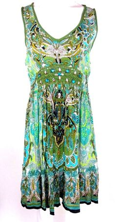 fb51809b1ec Bila Shift Dress Multi Color Rayon Sz M Sleeveless Beaded Crochet Knee  Length AA  Bila