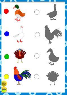 Shape Matching, Matching Games, Writing Activities, Preschool Activities, Farm Animals, Animals And Pets, Grammar Lessons, Learning Through Play, Teaching Kindergarten