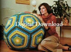 Love this! would work for my yoga/balance ball. Looks super easy since it's just oversize Granny Squars. Vintage Hippie Granny Square Giant Floor Pillow by OneRetroLady