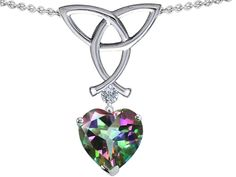 Star K Love Knot Pendant Necklace with 8mm Heart Shape Rainbow Mystic Topaz