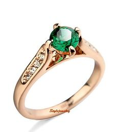 Round Shape Emerald Green Crystal Rose Gold Plated Anniversary Ring R1 #Unbranded #SolitairewithAccents