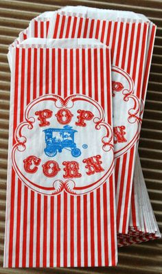 popcorn bags,paper,concession bags,vintage styles,fair,carnival,movie theater,favors - Jilly Bean Kids jillybeankids.com